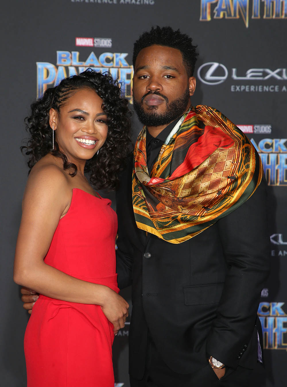 Zinzi Evans, Ryan Coogler at World Premiere of Marvel Studios Black Panther