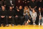 Jennifer Lopez, Alex Rodriguez & Kids at the Hornets vs Lakers game