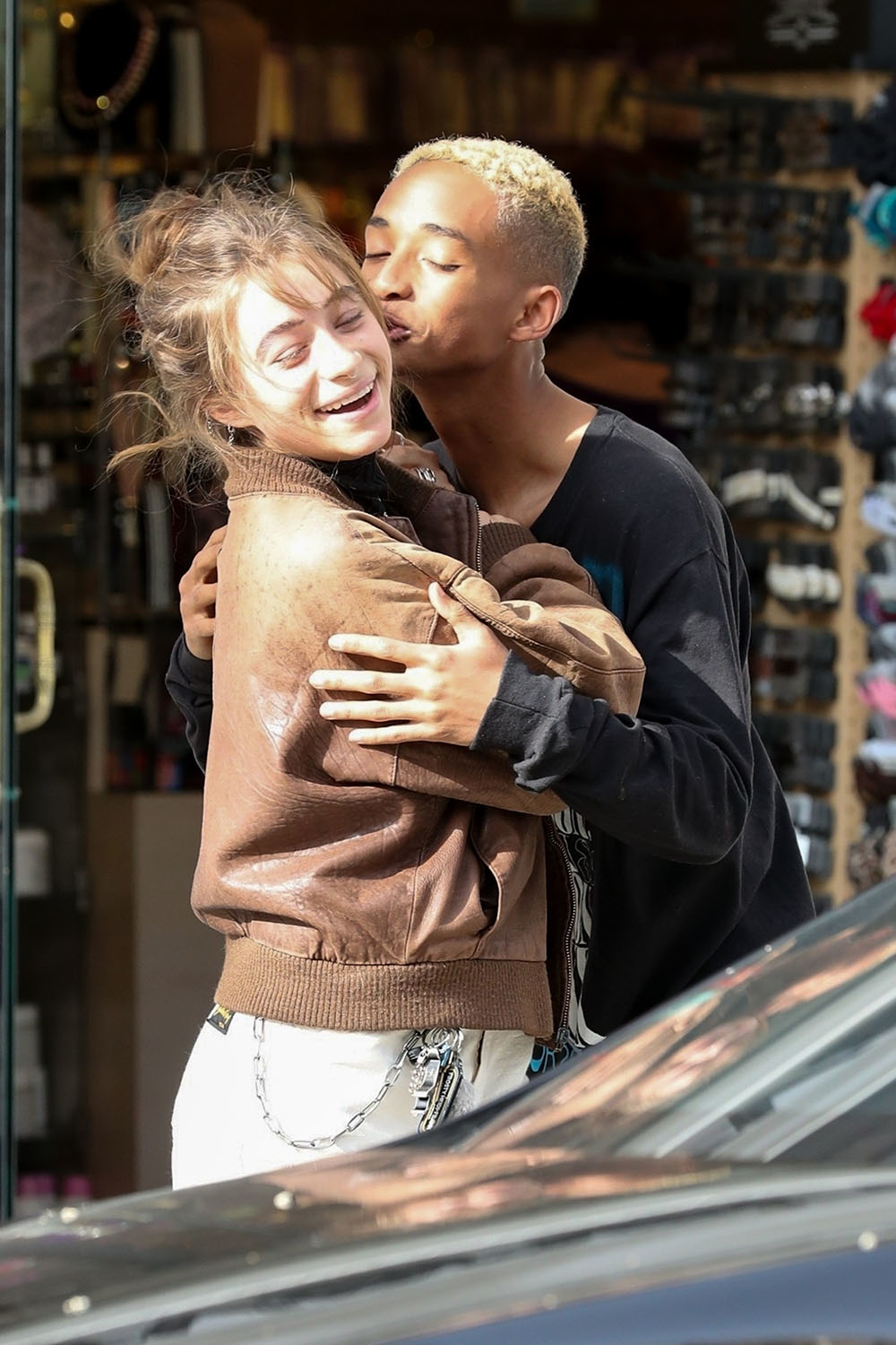 Jaden Smith and Odessa Adlon pack on the PDA in Beverly Hills