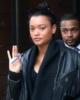 Lameka Fox seen leaving her apartment with Lameka Fox in New York