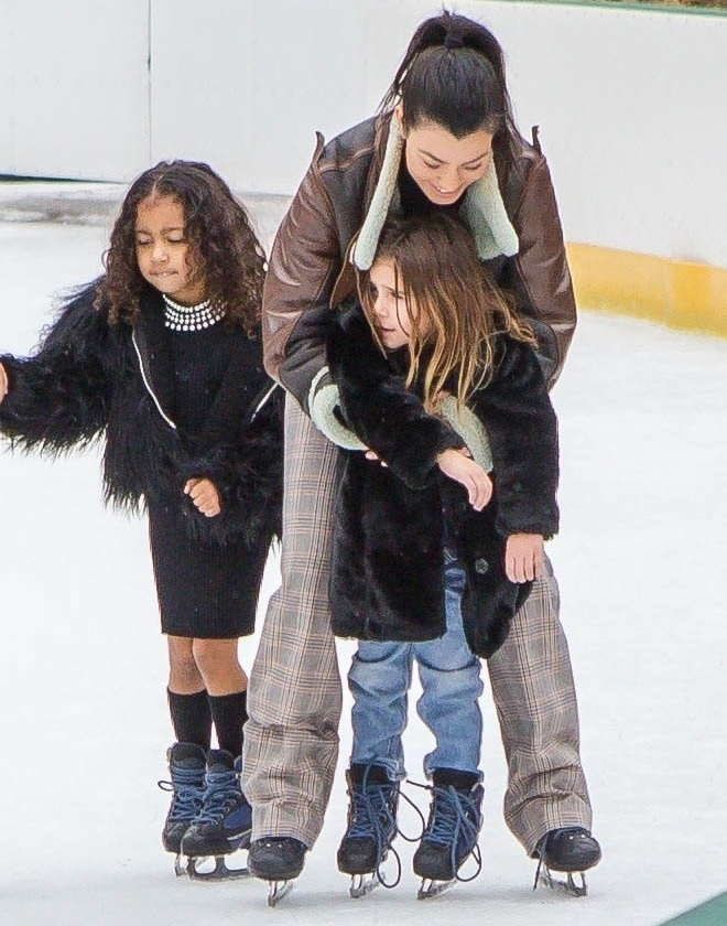 Kourtney Kardashian takes Penelope and North Ice Skating in Central Park