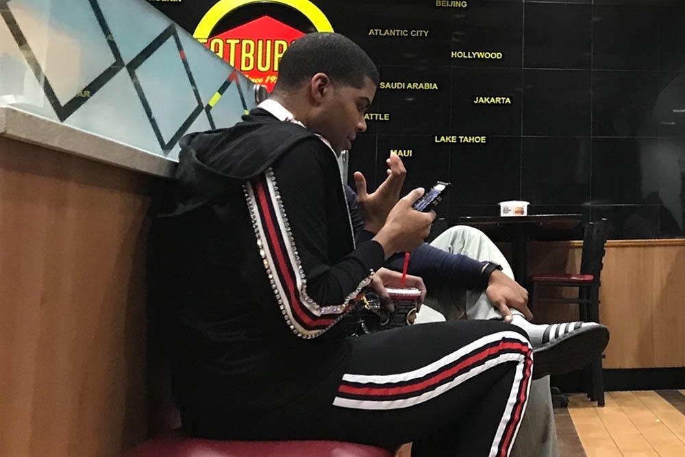 EJ Johnson spotted at a Fat Burger in Westwood
