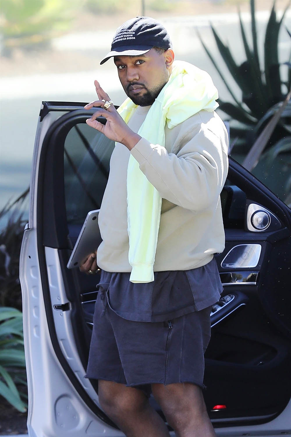 Kanye West arrives at his office in Calabasas