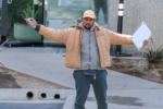 Kanye West arrives at Calabasas office