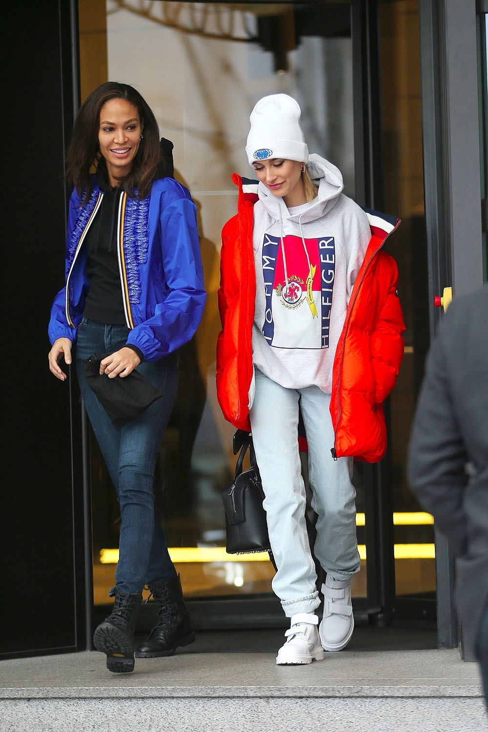 Joan Smalls and Hailey Baldwin step out in Milan