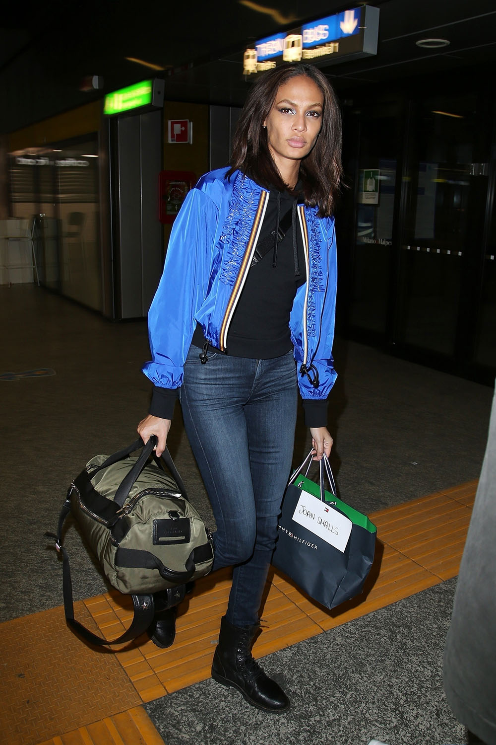 Joan Smalls touches down in Milan