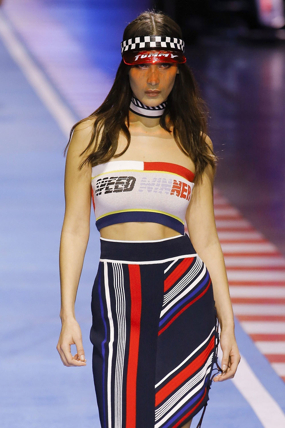 Bella Hadid at The Tommy Hilfiger fashion show in Milan
