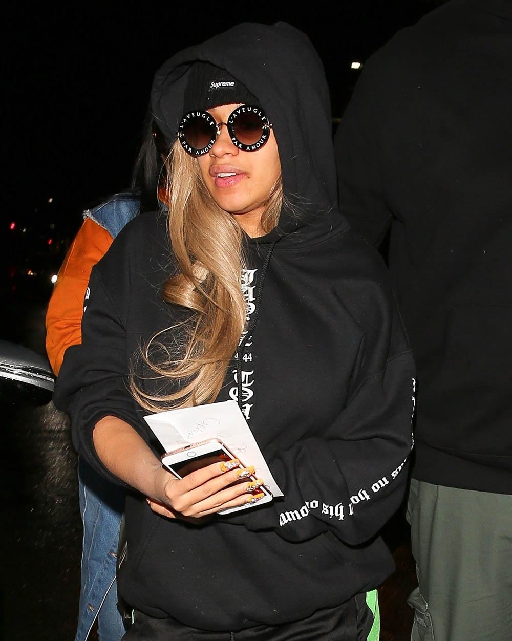 Cardi B wearing Fear of God JAY_Z 4:44 hoodie