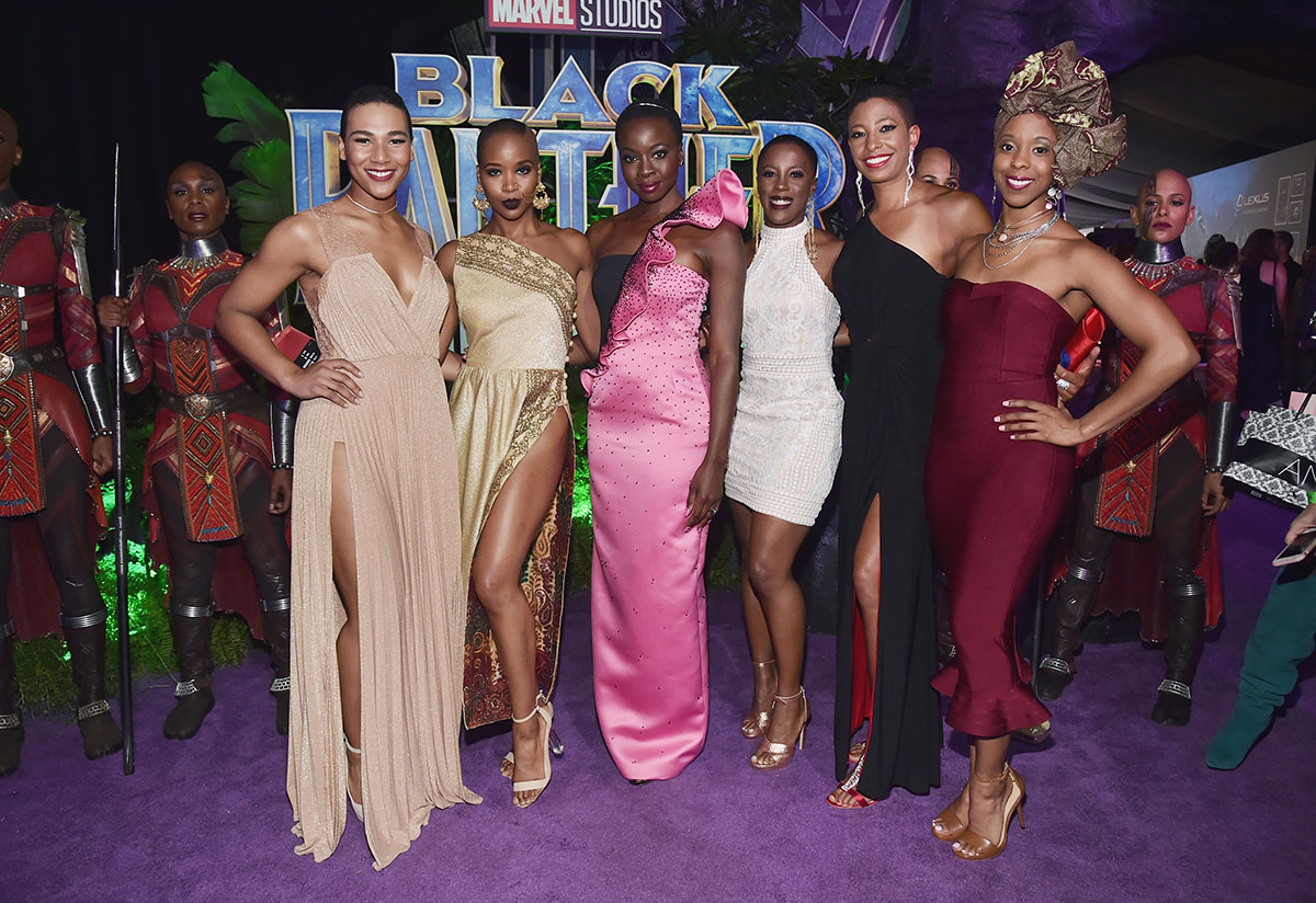 Danai Gurira (C) and 'The Dora Milaje' actors at the Los Angeles World Premiere of Black Panther