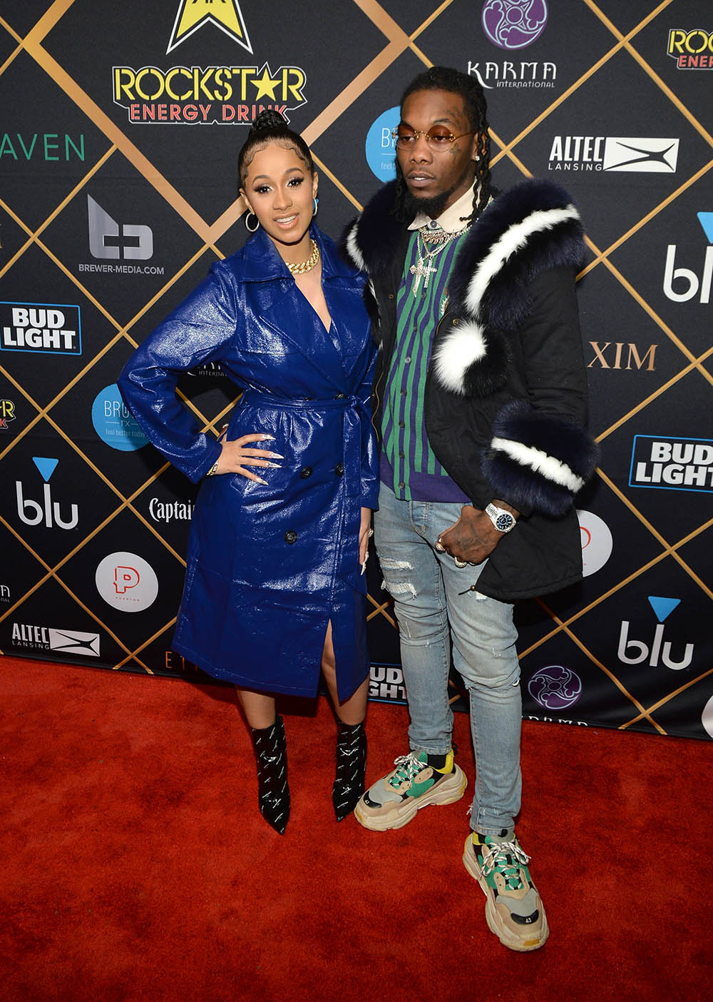 Rapper Cardi B (L) and Offset attend the 2018 Maxim Party co-sponsored by blu
