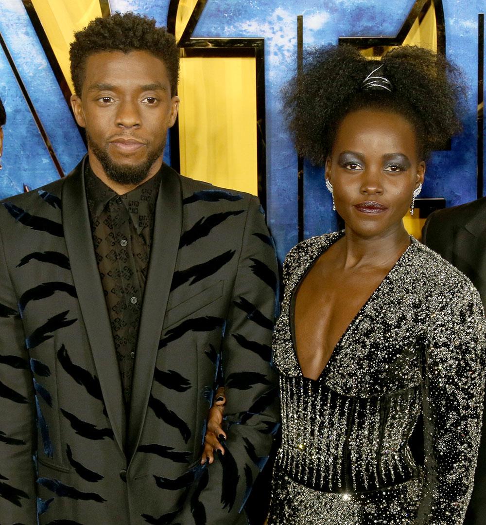 Chadwick Boseman, Lupita Nyong'o at Black Panther European Premiere