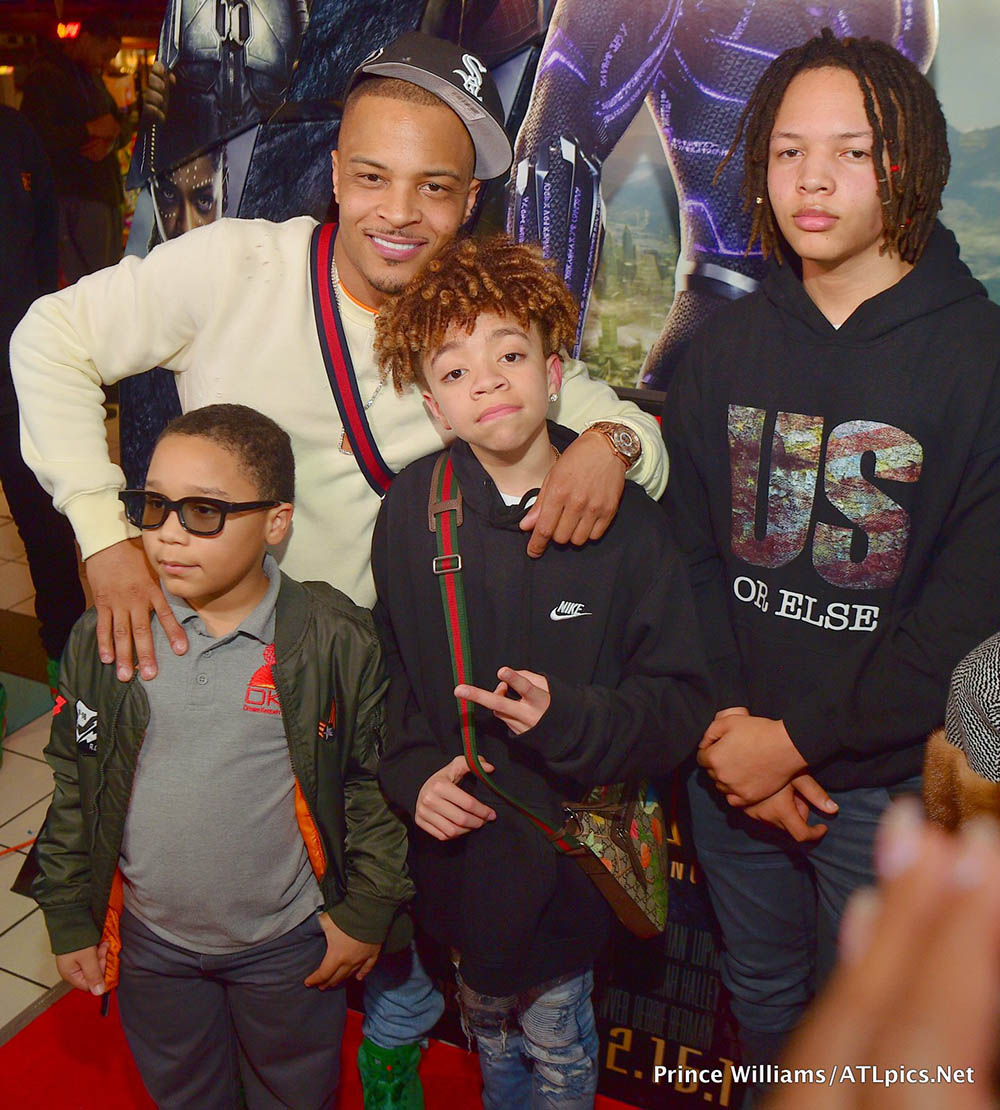 T.I. Harris and family at Black Panther screening in Atlanta