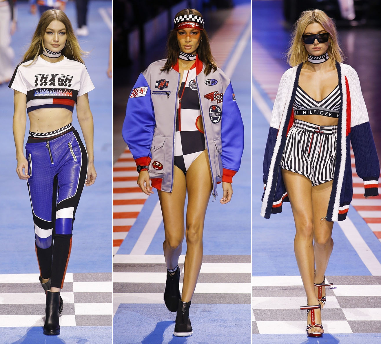 Gigi Hadid, Joan Smalls, Bella Hadid at The Tommy Hilfiger fashion show in Milan