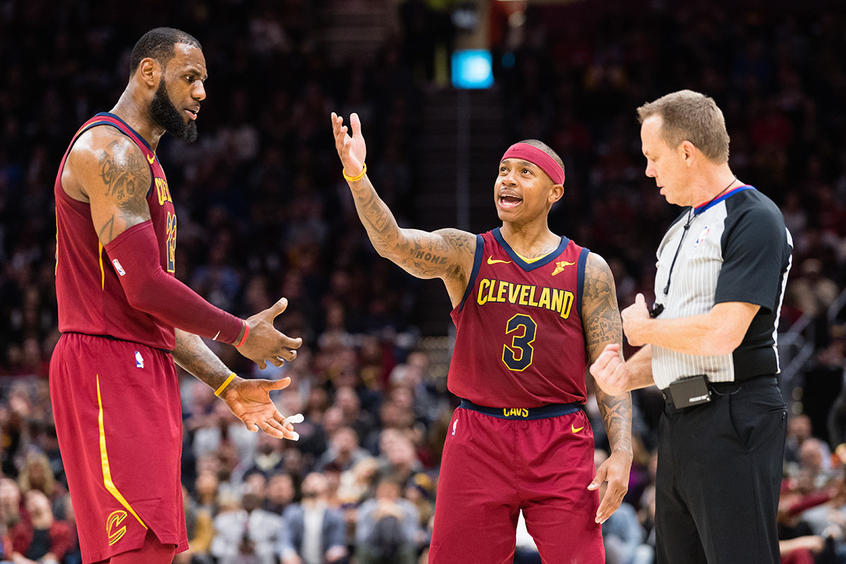 LeBron James #23 an Isaiah Thomas #3 of the Cleveland Cavaliers