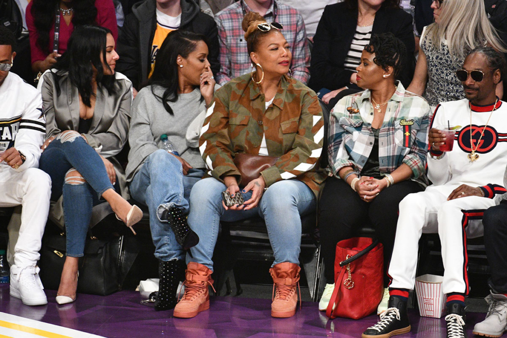 Ludacris, Eduoxie, Eboni Nichols, Queen Latifah, Shante Broadus, Snoop Dogg attend NBA All-Star Game