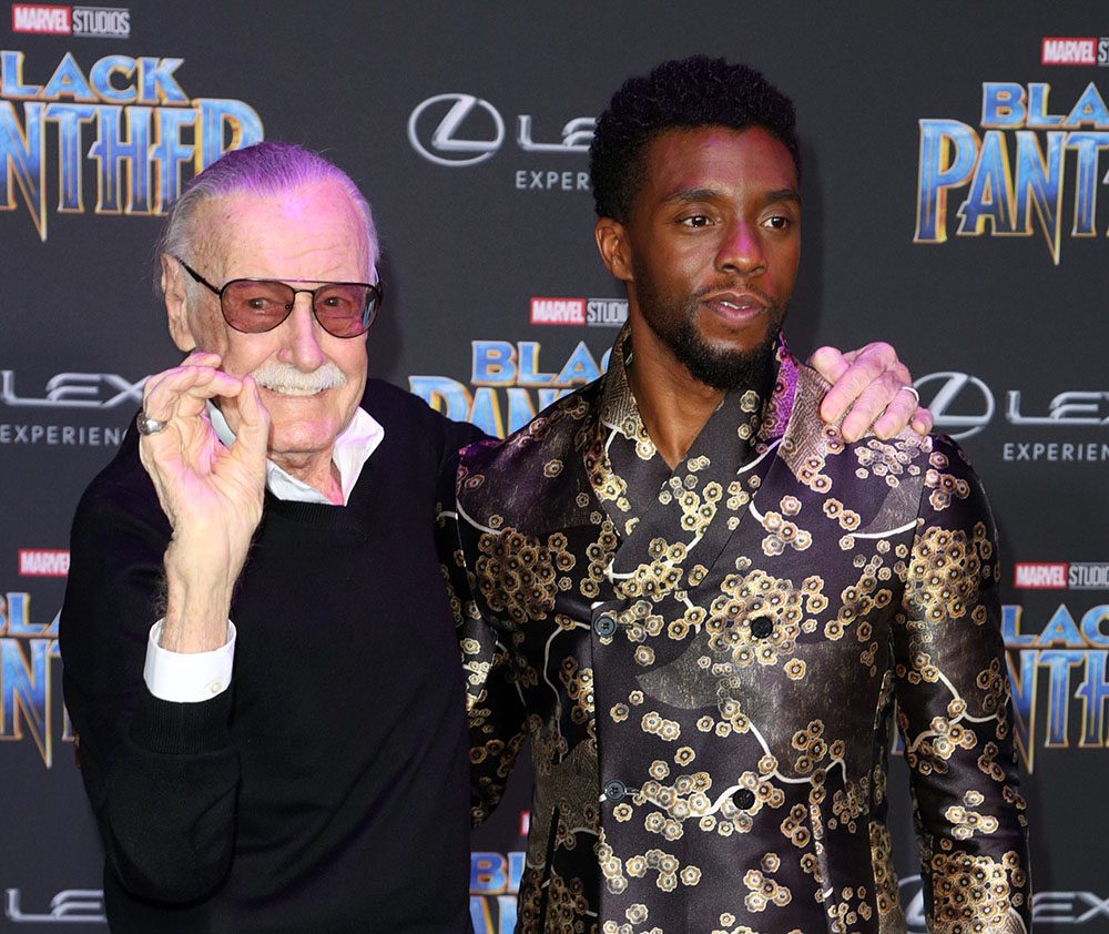 Stan Lee (L), Chadwick Boseman at Black Panther L.A. premiere