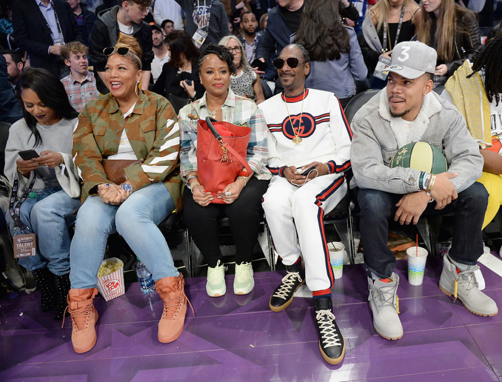 eboni nichols  queen latifah  shante broadus  snoop dogg  chance the rapper attend nba all