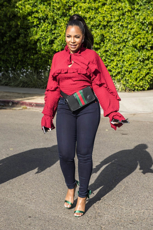 298867241bdd Ashanti wearing Gucci Double GG fanny pack | Sandra Rose
