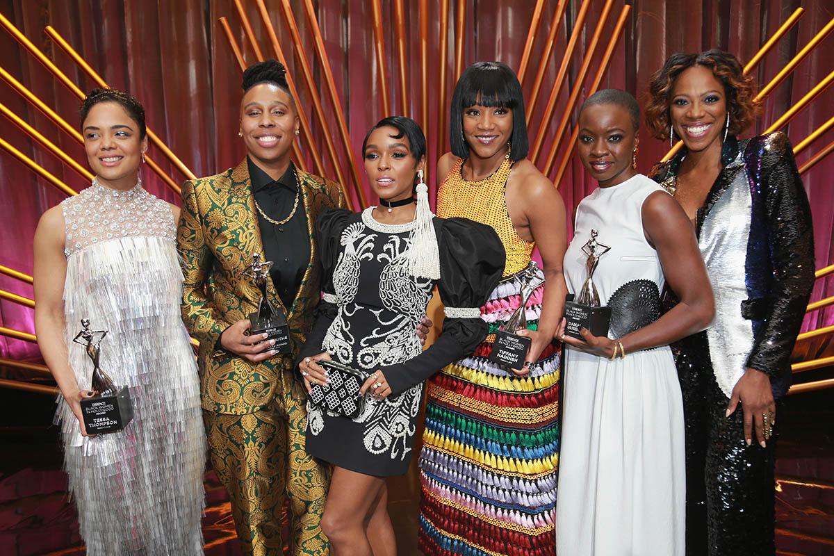 L-R: Tessa Thompson, Lena Waithe, Janelle Monáe, Tiffany Haddish, Danai Gurira, Yvonne Orji