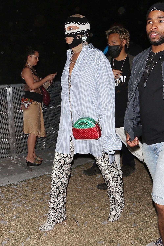 Rihanna Wears A Balaclava During Coachella Day 3 Sandra Rose