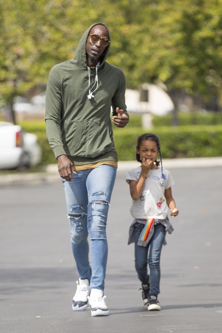 Nba Superstar Kevin Garnett Was Seen Taking His Adorable
