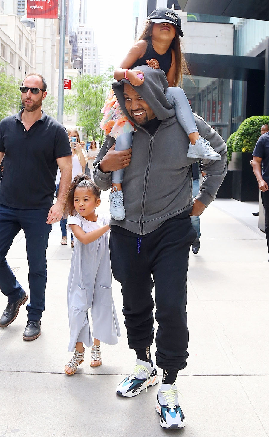 Kanye West Is Seen Leaving His Hotel With His Daughter