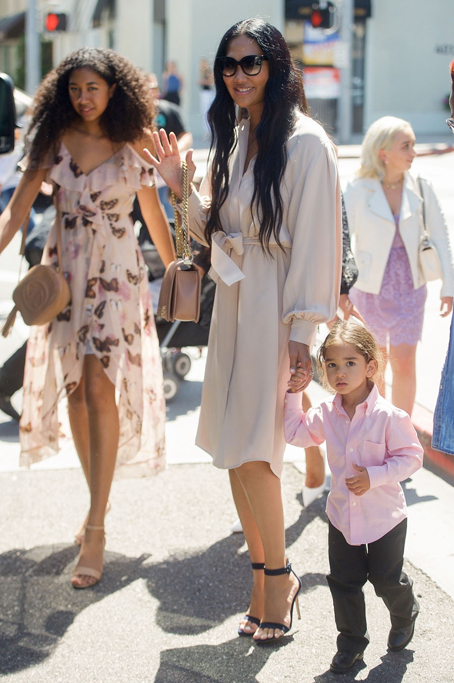 kimora lee simmons stuns in a beige dress for lunch with