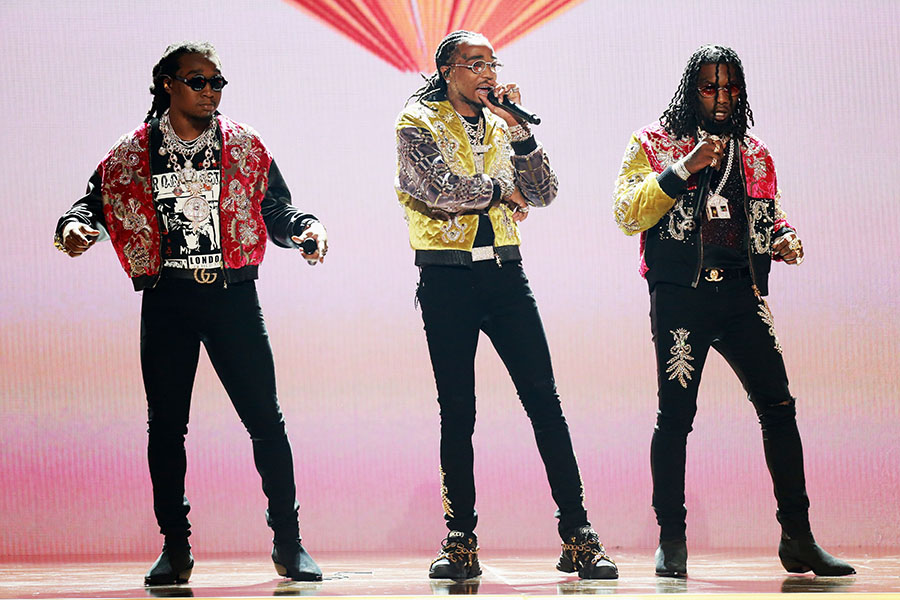 (L-R) Takeoff Quavo and Offset of Migos perform onstage at the 2018 BET Awards at Microsoft ...