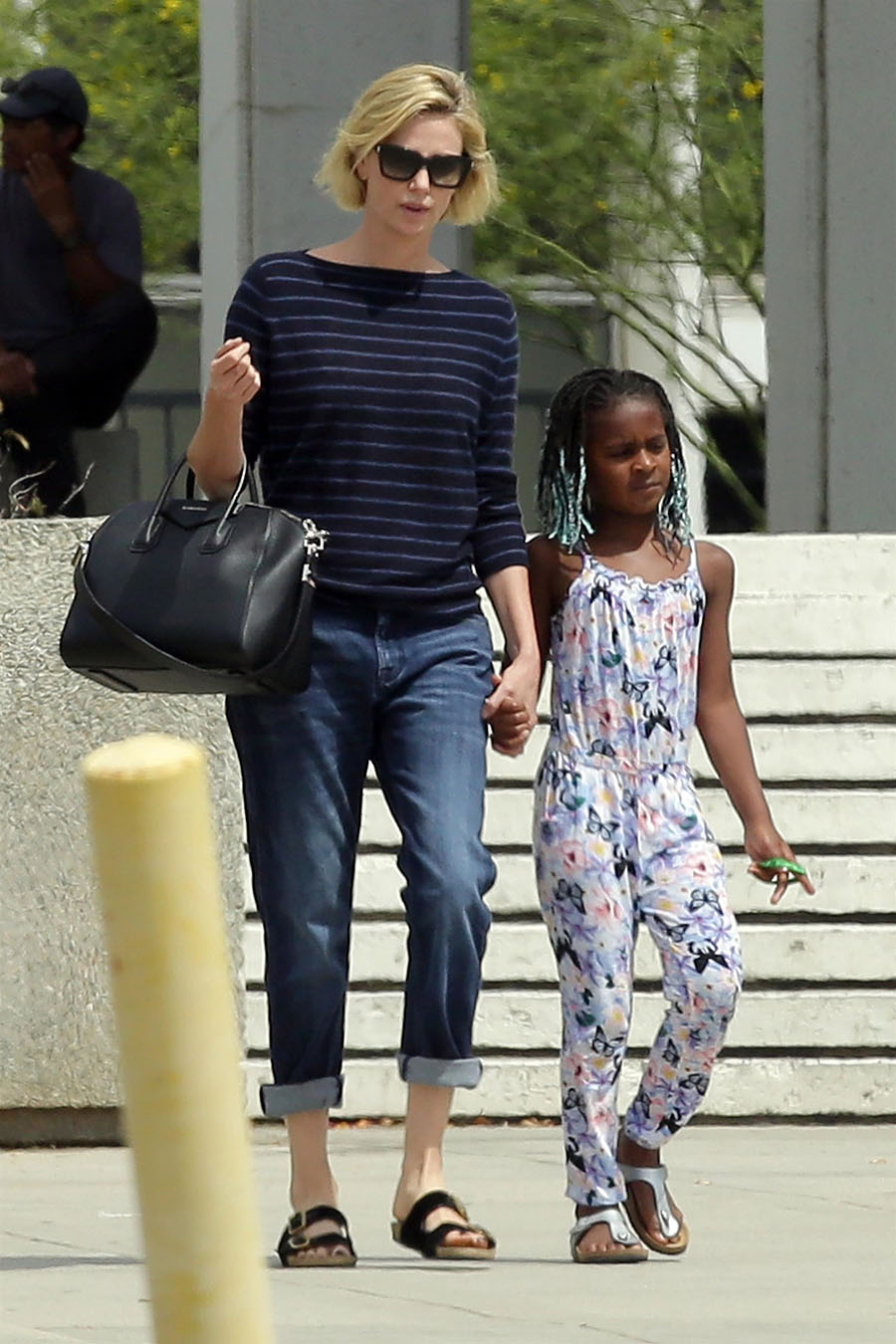 charlize theron is seen visiting the federal building in