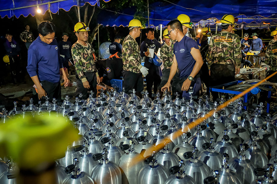 Scuba tanks are delivered to the site for Thai navy and ...