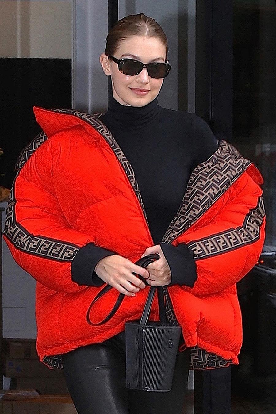 Celebs Out About Nicki Minaj Blac Chyna Gigi Hadid Nia Inside Flats Khaky 40 Supermodel Was Seen Leaving Her New York City Apartment Building Dressed In A Stylish Orange Fendi Bubble Coat With Black Leggings