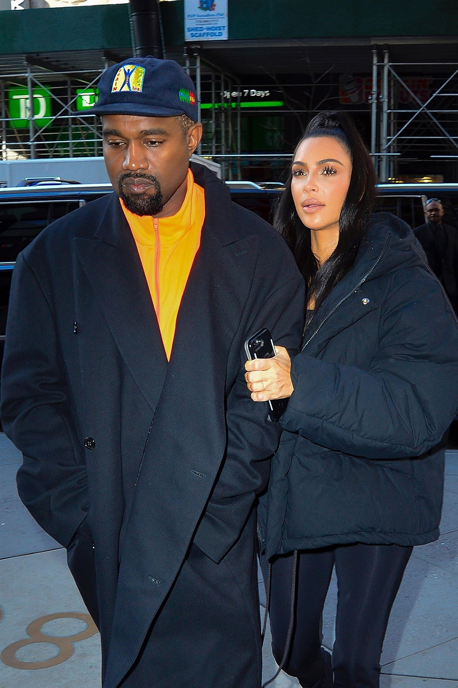 55d93f0b1cf0 Hollywood power couple Kim Kardashian West and Kanye West match their dark  colors as they exit a fancy NYC hotel on this chilly NYC Morning.