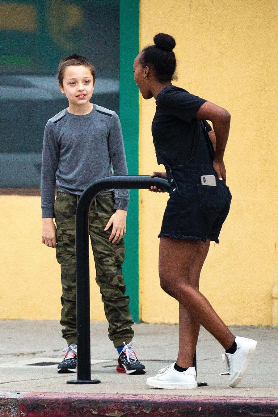 Zahara Jolie Pitt And Knox Jolie Pitt Goof Around While