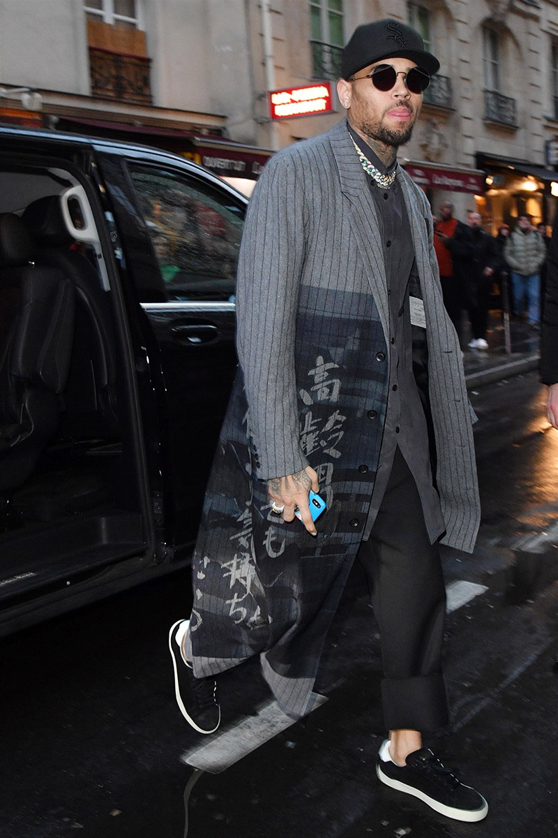 Chris Brown Is All Smiles While Leaving The Mandarin