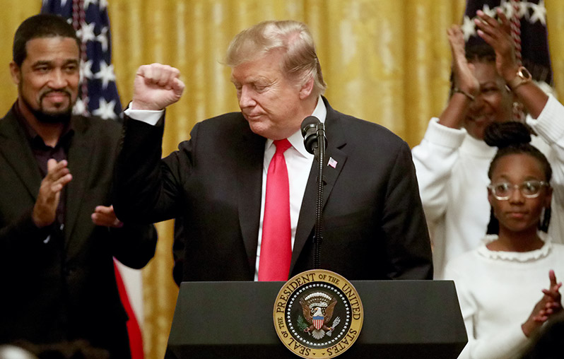 U S President Donald Trump Delivers Remarks During A