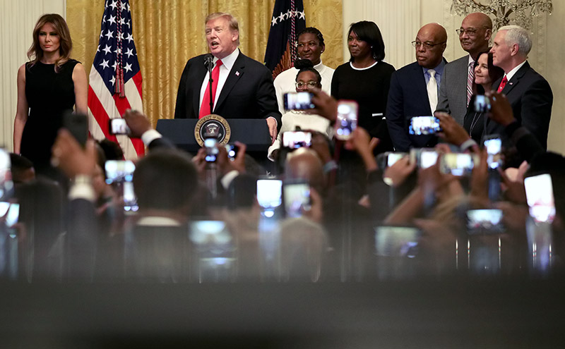 U.S. President Donald Trump delivers remarks during a