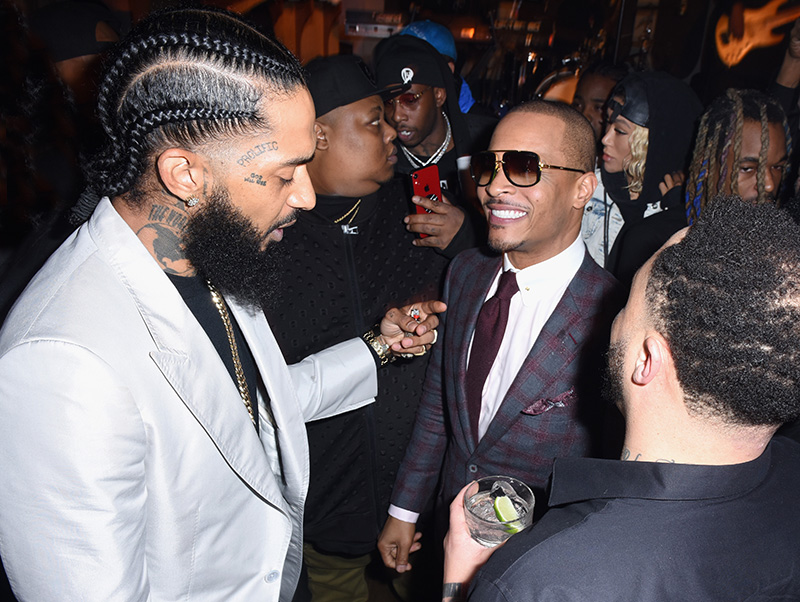 Nipsey Hussle (L) and T.I. attend the PUMA x Nipsey Hussle 2019 Grammy  Nomination Party at The Peppermint Club on January 16 e3979677c