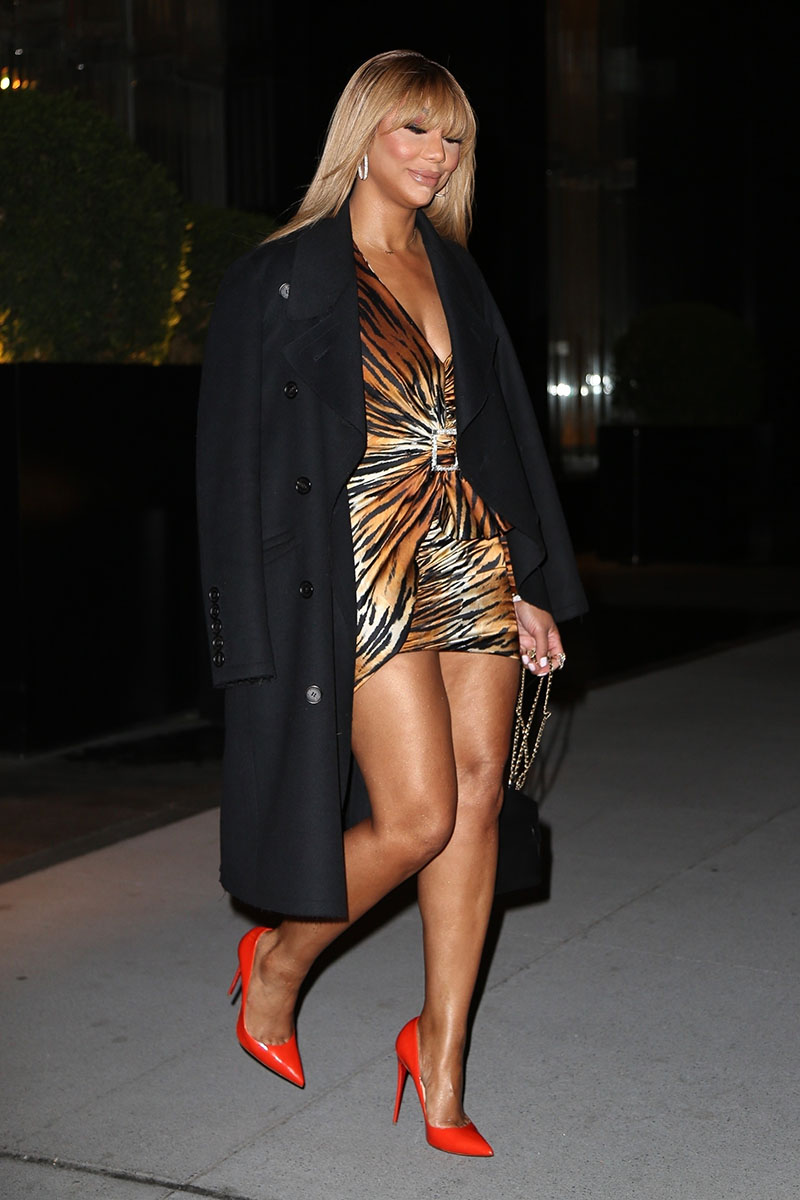 Tamar Braxton Seen Leaving Her Hotel In A Leggy Tiger