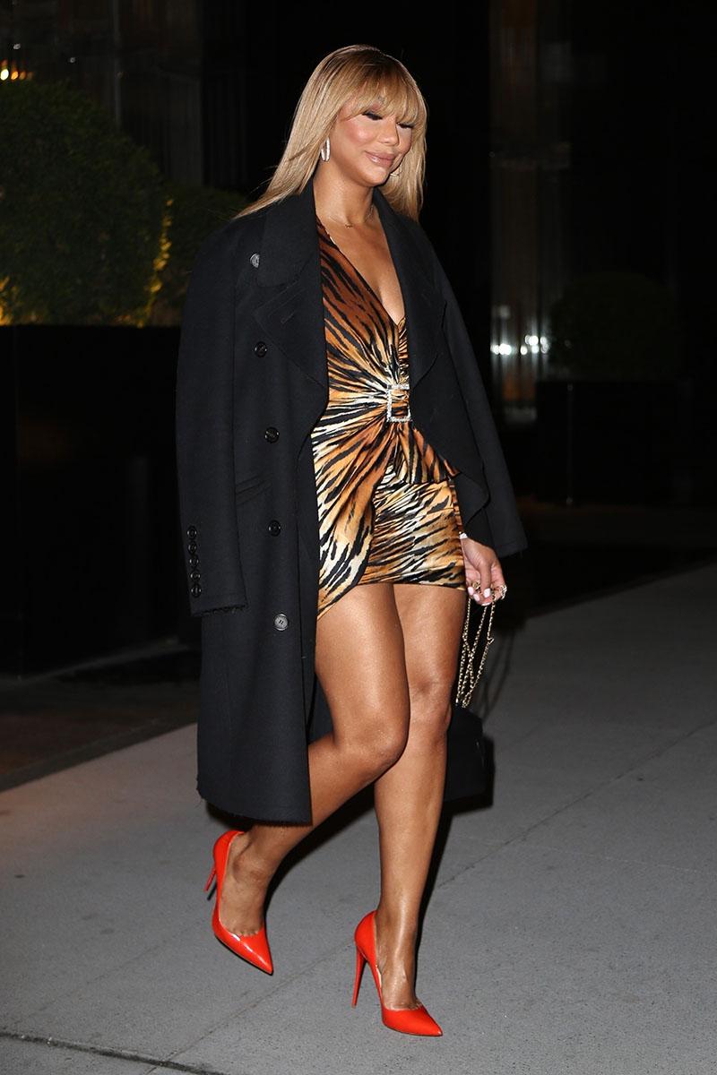 Tamar Braxton Seen Leaving Her Hotel In A Leggy Tiger
