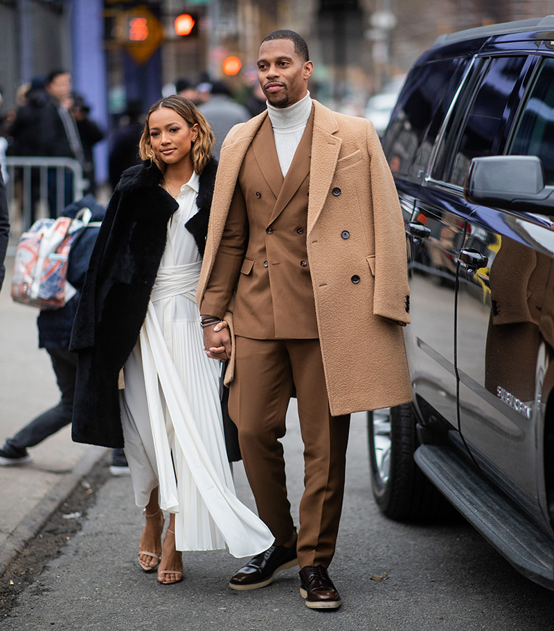 Karrueche Tran and Victor Cruz is seen outside Boss during